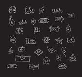 Vector hand drawn ampersands and catchwords. Stock Photography