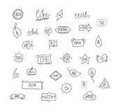 Vector hand drawn ampersands and catchwords. Royalty Free Stock Photo
