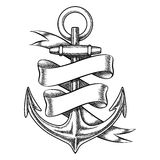 Vector hand drawn anchor sketch with blank ribbon Stock Photo