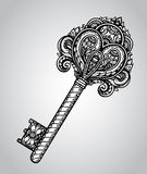 Vector hand drawn antique ornate key. Vector hand drawn antique ornate door or gate key in black and white style. Beautiful illustration with vintage pattern Royalty Free Stock Photography