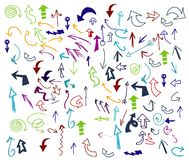 Vector of Hand drawn  arrow collection. With color Stock Images