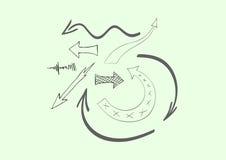 Vector hand-drawn arrows. Vector collection of nine hand-drawn arrows Stock Photos
