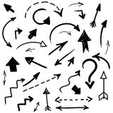 Vector hand drawn arrows collection. Grunge  hand drawn arrows collection Royalty Free Stock Image