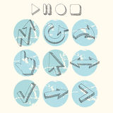 Vector hand drawn arrows icons set. Hand drawn with ink. Vector illustration stock illustration