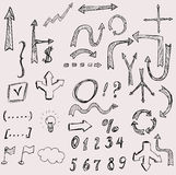 Vector hand drawn arrows icons set on white Stock Photography