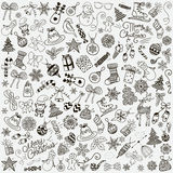 Vector Hand Drawn Artistic Christmas Doodles Clip-art. Stock Images