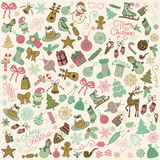 Vector Hand Drawn Artistic Christmas Doodles Clip-art. Stock Image
