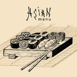 Vector hand drawn asian menu illustration.Hand sketched sushi set.Japanese food,tableware design for restaurant,cafe etc Royalty Free Stock Photo