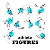 Vector hand drawn athletes. Stock Photos