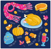 Vector hand drawn autumn set on dark background Stock Images
