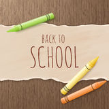 Vector hand drawn back to school greetings label - back to school - with realistic paper pages and pencils on wooden. Background. Can be used as greetings card vector illustration