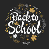 Vector hand drawn back to school lettering with branches, swirls, flowers, leafs and greetings label. Can be used as Royalty Free Stock Images