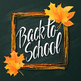 Vector hand drawn back to school lettering with frame, realistic maple leafs and greetings label on a blackboard Stock Photos