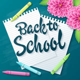 Vector hand drawn back to school lettering greetings label - back to school - with realistic paper pages, pencils and dahlia flowe. Rs on chalkboard background stock illustration