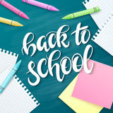 Vector hand drawn back to school lettering greetings label - back to school - with realistic paper pages, pencils and. Dahlia flowers on chalkboard background royalty free illustration