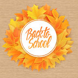 Vector hand drawn back to school lettering with realistic autumn leaves in round shape and greetings label. Can be used Stock Photos