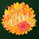 Vector hand drawn back to school lettering with realistic maple leafs in circle shapes and greetings label.. Can be used as card or poster Stock Photography