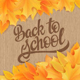 Vector hand drawn back to school lettering with realistic maple leafs and greetings label on wooden background. Can be used as car Stock Photo