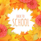 Vector hand drawn back to school lettering surrounded with autumn leaves and dahlia flowers. Can be used as greetings card or post Stock Image