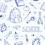 Vector hand drawn back to school seamless pattern. School equipment doodles on ruled paper. For designs, textile, print Royalty Free Stock Image