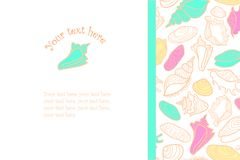Vector hand drawn background with cute colorful. Seashells and place for text stock illustration