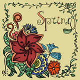 Vector hand drawn background. Doodle floral pattern with hand drawn text. Spring theme Stock Photos