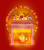 Vector hand drawn background. Fireplace, gifts and fluorescent lights Royalty Free Stock Photo