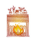 Vector hand drawn background. Fireplace, gifts and fluorescent lights Stock Images