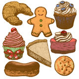 Vector hand drawn bakery set Royalty Free Stock Images