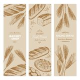 Bakery template. Vector hand drawn bakery templates, banners, flyers, leaflets vector illustration