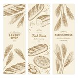 Bakery templates. Vector hand drawn bakery templates, banners, flyers, leaflets royalty free illustration