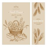 Bakery templates. Vector hand drawn bakery templates, banners, flyers, leaflets vector illustration