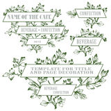 Vector hand drawn banner in the leaves of plants in different versions Royalty Free Stock Image