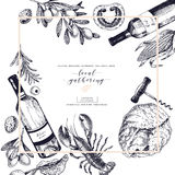 Vector hand drawn banner local gatherings. Frame composition. Wine, seafood, cheese, chicken meet, vegetables cabbage Royalty Free Stock Photography
