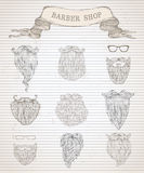 Vector hand-drawn beards set. Stock Image