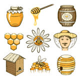 Vector hand drawn beekeeping, honey and bee icons Royalty Free Stock Photos