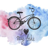 Vector hand drawn bicycle on watercolor background. I love my bike royalty free illustration