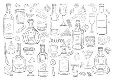 Vector hand drawn big set of alcohol elements stock photo