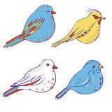 Vector hand drawn birds Stock Photo