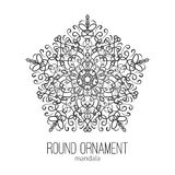 Vector hand drawn black floral mandala circle ornament  on the white background. Stock Photography