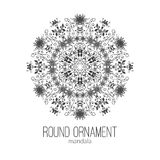 Vector hand drawn black floral mandala circle ornament  on the white background. Royalty Free Stock Photography
