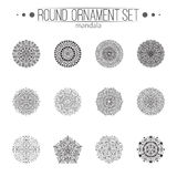 Vector hand drawn black floral mandala circle ornaments set  on the white background. Royalty Free Stock Photos