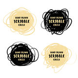 Vector hand drawn black and gold scribble logo Royalty Free Stock Images