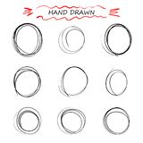 Vector hand drawn black round Doodle of lines. Selection of elements notes, sketch. message bubble. Isolated background. royalty free illustration