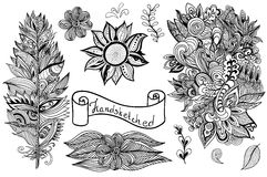 Vector hand drawn  black white design elements. Royalty Free Stock Photos