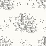 Vector hand drawn black and white seamless pattern, illustration of butterfly with decorative geometrical elements, lines, dots. Line drawing. Graphic design stock illustration
