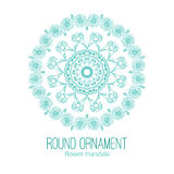 Vector hand drawn blue floral mandala circle ornament  on the white background. Stock Images