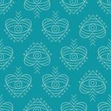 Vector hand drawn boho eyes doodles seamless repeat pattern royalty free illustration