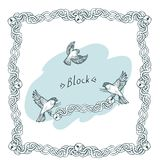 Vector hand drawn border of chains with locks, birds and inscription Block Birds taking away a with locks royalty free illustration