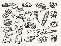 Vector hand drawn bread Royalty Free Stock Images